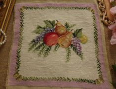 Beautiful-Whole-Petit-Point-Light-Purple-Canvas-Fruits-amp-Wasteria