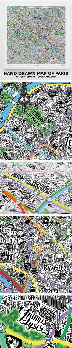 Renowned for her beautifully fun maps, illustrator Jenni Sparks has done it once again by collaborating with Evermade.com to create an intricately detailed illustration of the globally adored Paris.
