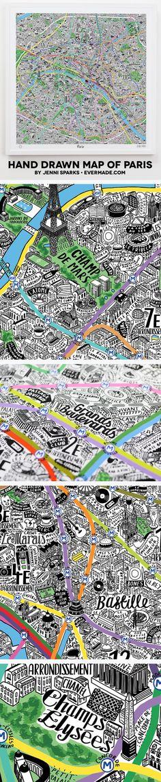 Paris Map Art Print from Evermade.com #design #illustration