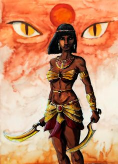 """Sekhmet (""""SEK-met""""). """"Strong and Mighty;"""" she's depicted with a lion's head. The Egyptian goddess of the sun, fire and war, she can help you feel strong and mighty. Like Hathor-on-a-bad-day, Sekhmet is believed to be the other side of the docile cow deity, who is activated to destroy evil."""