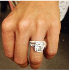 Catherine Lowe's Neil Lane cushion cut engagement ring - I love this so much! Neil Lane Engagement, Beautiful Engagement Rings, Beautiful Rings, Cushion Cut Engagement Ring, Solitaire Engagement, Ring Verlobung, Dream Ring, Diamond Rings, Just In Case