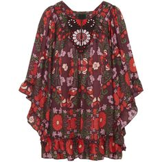 Anna Sui Morning Glory cotton and silk-blend mini dress ($248) ❤ liked on Polyvore featuring dresses, tops, vestidos, anna sui, burgundy, draped dress, red cotton dress, cotton mini dress, embroidered dress and short dresses
