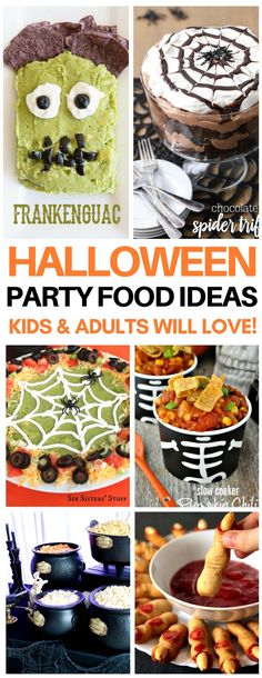 These are SO creative halloween party food ideas that are kid-friendly! Obsessed with the Frankenguac and spider web trifle - must make! Theyve got the best ideas for halloween desserts, appetizers, and drinks. halloween food and drink Halloween Desserts, Teen Halloween Party, Hallowen Food, Halloween Cocktails, Halloween Appetizers, Halloween Ghosts, Halloween Treats, Vintage Halloween, Halloween Stuff
