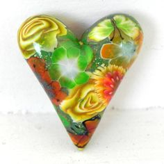 Heart Bead/Pendant  Green Orange Yellow Summer by LavaGifts, $7.00 Memorial Ideas, Dog Memorial, Play Clay, Diy Jewelry Making, Green And Orange, Polymer Clay, Favorite Things, Diy Projects, Beads
