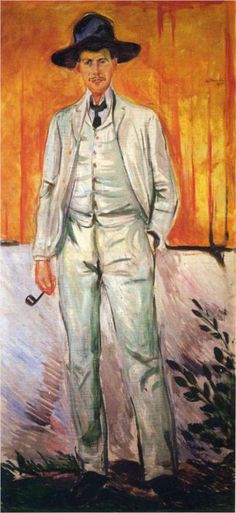 Portrait of Ludvig Karsten, 1905 by Edvard Munch (1863-1944)....Karsten was a Norwegian painter influenced by Munch, Matisse and  contemporary French painting. Born 1876, in Oslo, he died in Paris in 1926...like that wide-brimmed black hat with the white three-piece...