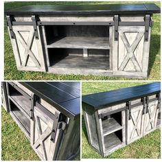 TV Console/TV Stand/Entertainment Center/Barn Door/Custom/media stand/media hutch/cabinent/sliding d Rustic Living Room Furniture, Living Room Tv, Farmhouse Furniture, Console Tv, Rustic Tv Console, Furniture Projects, Wood Projects, Home Furniture, Cheap Furniture