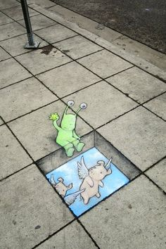 The artist from Michigan David Zinn fixes holes and cracks in the road with the help of chalk drawings David Zinn, 3d Street Art, Street Art Graffiti, Street Artists, Street Mural, Graffiti Artists, Pablo Picasso, New York Graffiti, Garden Mural