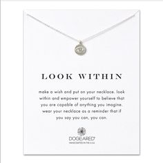 """Dogeared look within necklace 16"""" sterling silver chain, sterling silver eye charm, spring ring closure Dogeared Jewelry Necklaces"""