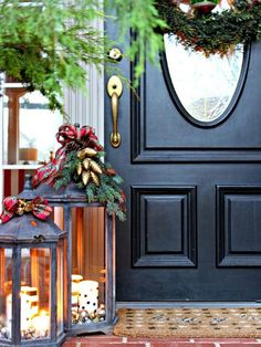 Add festive curb appeal to the exterior of your home with these creative outdoor holiday decorations that feature natural elements. Deck your porch, front door and entryway with this statement collection of Christmas wreaths, urn ideas, and greenery displays. Your house will be the merriest on the block!