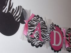 Hot Pink and Zebra Minnie Mouse Inspired by inspirationsdesign, $15.50