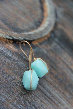 "Gold tone chunky faceted Amazonite nugget ""Simple line"" earrings, minimalist, organic look, simple. everyday earring, bronze earrings"