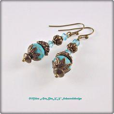 Ohrhänger - Edelstein-Ohrringe♦Howlith♦Türkis-Bronze Style - ein Designerstück von Miss-AraBeeXX bei DaWanda