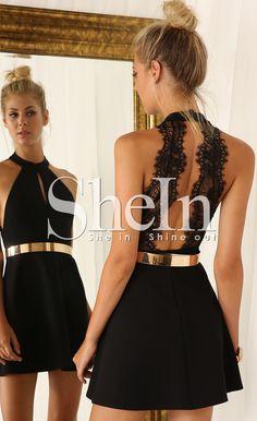 Vestido encaje Halter sin espalda negro 18.31€