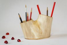 Wooden pencil holder / Pen stand / Live edge desk organizer / Desktop décor / Office accessories / Wood storage / Office supplies by mitsic on Etsy