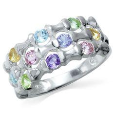 Natural Amethyst, Tanzanite, Peridot, Tourmaline, Citrine & Topaz 925 Sterling Silver Ring RN0077501 SilverShake.com