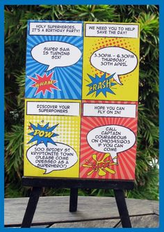 "Party - superhero Comic strip invitation idea.  ""We need you to help save the day!"""