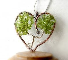Peridot Tree of Life Necklace, Heart Shaped Sterling & Copper Tree