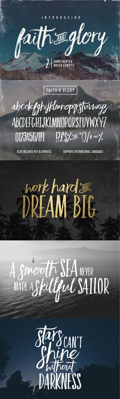 Faith and Glory is a set of 2 hand-painted brush #fonts, designed to perfectly combine with one another and allow you to create beautiful #typography with a personal touch.
