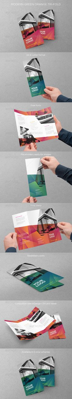 Modern Green Orange Trifold — InDesign INDD #clean #tri-fold • Available here → https://graphicriver.net/item/modern-green-orange-trifold/7843301?ref=pxcr