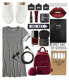 """""""Untitled #962"""" by helenaki65 ❤ liked on Polyvore featuring Jayson Home, Hollister Co., Mint Velvet, Sloane Stationery, Lime Crime, Givenchy, Chanel, Moschino, RecycRing and Oribe"""