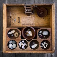 Things Organized Neatly - Cash Box - Something very pleasing about these shapes together and the worn roundedness of the wood Arte Assemblage, Wicca, Magick, Witchcraft, Things Organized Neatly, Cabinet Of Curiosities, Box Art, Art Boxes, Wooden Boxes