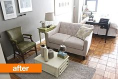 Before & After: Samna Transforms a Studio in 5 Days... Her blog has great ideas