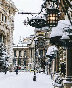 Bucharest Old Town – Bucharest Old Town – – Winterbilder Winter Szenen, Winter Magic, Winter Christmas, Winter Europe, Christmas Images, Winter Time, Winter Holidays, Christmas Lights, Christmas Time