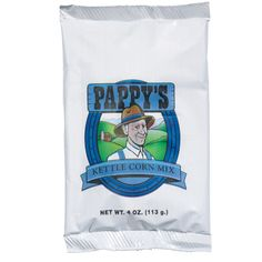 #2569 Pappy`s Kettle Corn Mix, 4 oz.: Pappy's Kettle Corn Mix blends the perfect sweet and salt balance. All Pappy's mixes can be made directly in any popper kettle. Each mix pouch is 4 oz. and there are 48 per case.