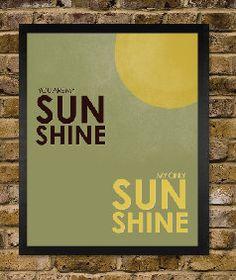 You are my sunshine - Green Brown Vintage Distressed Nursery Print. $12.00, via Etsy.