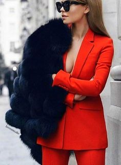 red suit - black fur - classy http://luvrumcake.tumblr.com/post/155349415929/black-fox-over-red-suit