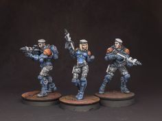 Group shot of the PanOceanian Fusiliers from the Infinity Operation: Icestorm set.