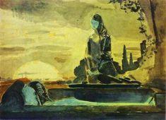 'Pietà 1', óleo de Mikhail Vrubel (1856-1910, Russia)