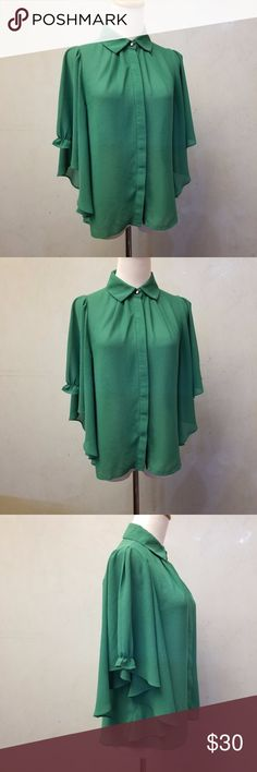 Green Flowie sleeve button down Green button down with 3/4 flowie sleeves. in perfect condition like new. Maddy...K Tops Blouses