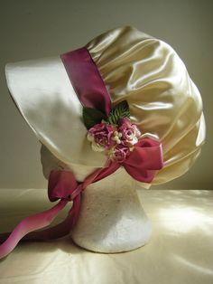 Regency Bonnet. Cream, Pink Silk Ribbons and Roses. READY TO SHIP. £55.00, via Etsy.
