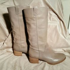 Gianni Bini Taupe Boots Gianni Bini Adorable Taupe leather boots. These boots have the softest leather. I believe that I literally wore them one time, they were a little bit small for me. They are 15 in tall, including the 2 in heel. Gianni Bini Shoes Heeled Boots
