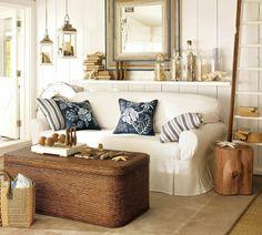 Muschelschalen Laterne Rattan Möbel weißes Sofa