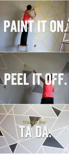 Geometrische Wandgestaltung mal ganz anders. Gewünschtes Muster mit Malerband kleben und dann mit gewünschter Farbe überstreichen. Malerband abziehen und fertig ist die einzigartige Wandkunst