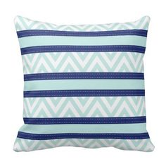 Mint Blue & Navy Stripes Chevron Pattern Throw Pillow