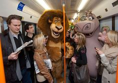 Madagascar stars Alex, King Julien, Gloria and Mort take the Waterloo to Chessington South line en route to Chessington World of Adventures Resort in Surrey, where they are due to appear in new live stage show which opens at the resort this Friday