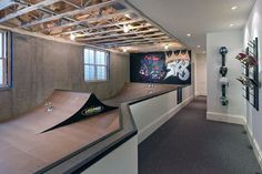 Home Basement Design Ideas For Men - Masculine Retreats Cool Basement Skatepark Design Indoors Of HomeCool Basement Skatepark Design Indoors Of Home Backyard Skatepark, Skate Ramp, Basement Bar Designs, Cool Basement Ideas, Home Decor Online, Best Interior Design, Basement Remodeling, Remodeling Ideas, Tudor