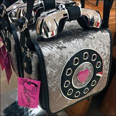 Betsy Johnson Telephone Purse T-Stand Display – Fixtures Close Up Betsy Johnson Purses, Cute Bags, Visual Merchandising, Shapes, Display, Candyland, Board Ideas, Telephone, Hooks