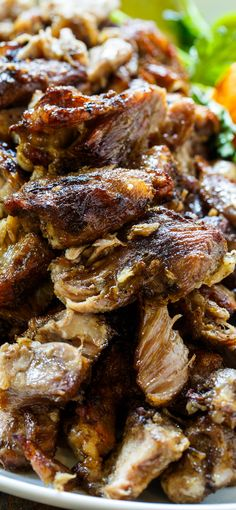 Pork Carnitas- slow cooked in lard and bacon fat until tender and then broiled until crispy.