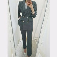 Spring Fashion Office Work Ladies Pants Suits Slim Casual Double Breasted Women Business Blazer Jacket And Trousers Sets 2 Piece - Hot Products Formal Pant Suits, Trouser Suits, Trousers, Wedding Pantsuit, Pantsuits For Women, Striped Blazer, Slim Pants, Long Pants, Office Ladies