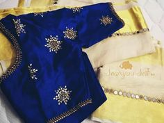 Kerala Saree Blouse Designs, Wedding Saree Blouse Designs, Half Saree Designs, Simple Blouse Designs, Stylish Blouse Design, Blouse Designs Silk, Designer Blouse Patterns, Work Blouse, Blue Blouse