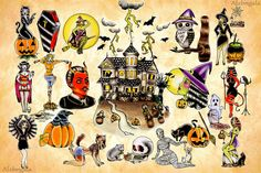 Halloween Tattoo Flash by:Alxbngala by ALXBNGALA, via Flickr. These are some gorgeous old school Halloween tattoos.