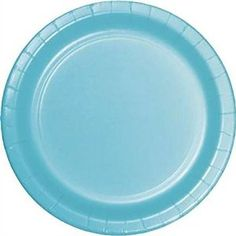 "Amazon.com: Custom & Unique {10"" Inch} 24 Count Multi-Pack Set of Large Size Round Disposable Paper Plates w/ Single Colored Basic Baby Shower Celebration Party ""Light Teal Blue Colored"": Kitchen & Dining"