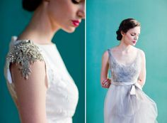 Stunning Beaded Shoulder Detail...2013 Wedding Dresses by Project Runway Alum Carol Hannah | OneWed