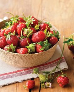 Spring Produce - Strawberry Basics | In Season: Fresh strawberries peak season is from April to June. What to Look For: Buy strawberries that are bright red (with no white or green around the stem), fragrant, and plump, with no soft spots. How to Store: If using right away, it's best not to refrigerate them. Otherwise, lay the berries flat on a paper-towel-lined plate and refrigerate for up to 2 days. Do not rinse or hull until ready to use.