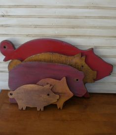 On Hold Set 3 Primitive Pig Cutting Board Vintage Wood Wooden Hog Pigs Boar Pork…