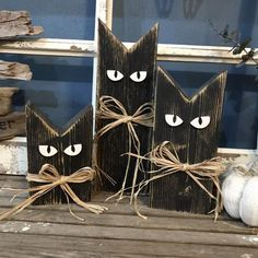 Made to order Wood Cats. These make great shelf sitter between your fall / ha ., Made to order Wood Cats. These make great shelf sitter between your fall / hal . Fall Wood Crafts, Halloween Wood Crafts, Holiday Crafts, Painted Wood Crafts, Wooden Halloween Decorations, Fall Wood Projects, Harvest Decorations, Primitive Fall Crafts, Rustic Wood Crafts